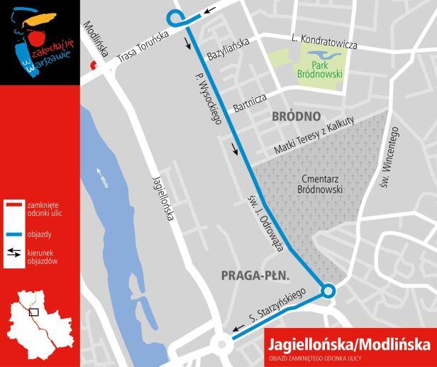 Objazdy zamkniętej łącznicy na Pradze UM Warszawa