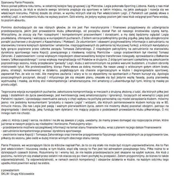 List otwarty kibiców SKLW