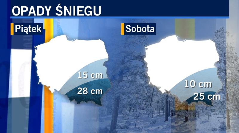 Prognozowane opady śniegu na piątek i sobotę