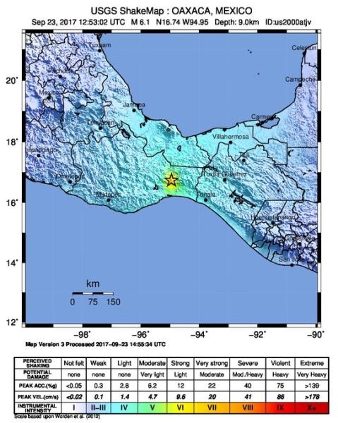 Odczuwalne wstrząsy w Meksyku (USGS)