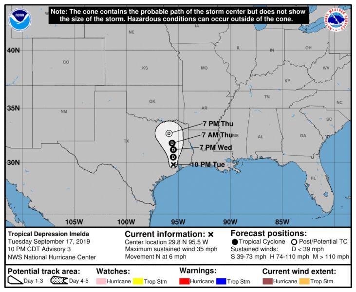Prognozowana trasa przejścia depresji tropikalnej Imelda (NHC)