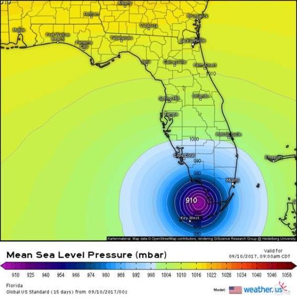 Prognoza pola ciśnienia atmosferycznego w Irmie na godzinę 9 rano czasu CDT (lokalnego Florydy) w niedzielę 10.09.2017